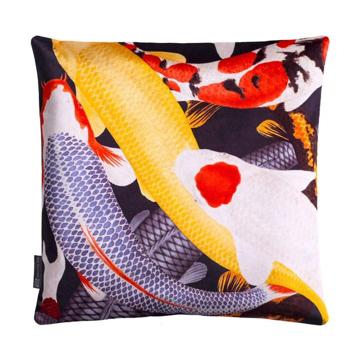 Koi II Style 3 Multicolour Velvet Cushion