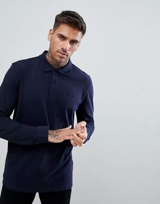 HUGO Long Sleeve Pique Logo Polo Shirt In Navy