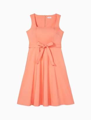 Calvin Klein Square Neck Tie Waist A-Line Dress