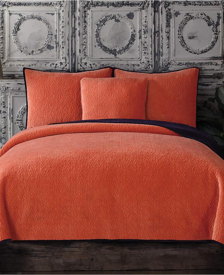 Reversible Velvet Quilted Full/Queen Coverlet Bedding
