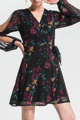 Others Follow Black Floral Wrap Dress