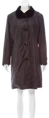 Ellen Tracy Velvet-Trimmed Knee-Length Coat