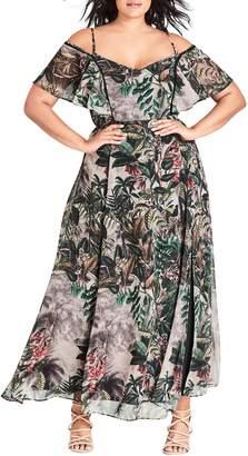 City Chic Sacred Jungle Cold Shoulder Maxi Dress