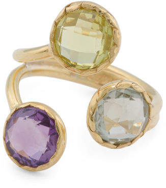 Made In Bali Plated Sterling Silver Amethyst And Quartz Ring