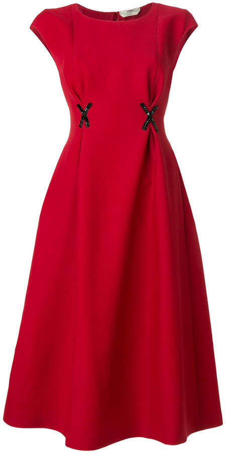 Fendi appliqué detail flared dress
