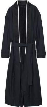 Haider Ackermann Silk Satin-Trimmed Linen Coat