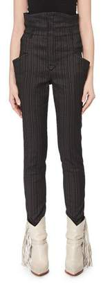 Isabel Marant Karen High-Waist Skinny-Leg Stretch Pinstripe Pants