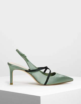 Charles & Keith Criss Cross Embossed Slingbacks