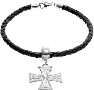"Insignia Collection Sterling Silver & Leather ""Firefighter"" & Axe Cross Charm Bracelet"