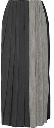 Facetasm Pleated Paneled Wool Midi Skirt