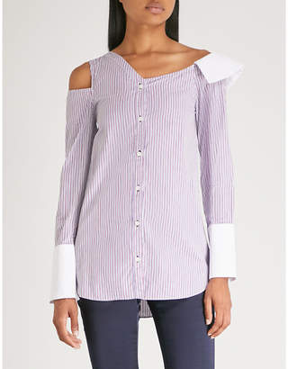 MONOGRAPHIE Asymmetric-neck cutout cotton shirt