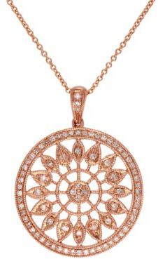 EFFY 14Kt. Rose Gold Circle Pendant Necklace with Diamonds