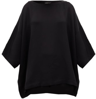 eskandar Boat Neck Silk Crepe Blouse - Womens - Black