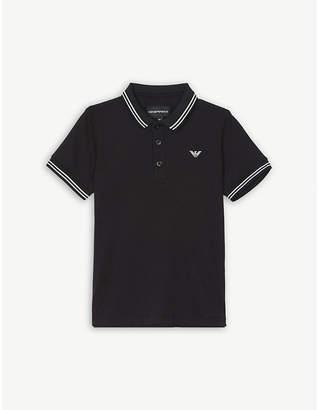 Armani Junior Logo cotton-blend polo shirt 4-16 years