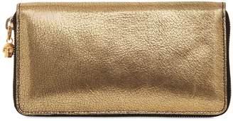 Alexander McQueen Metallic Leather Zip Around Wallet