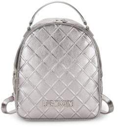 5ecd942822556 Love Moschino Embossed Metallic Faux Leather Backpack