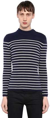 Saint Laurent Striped Wool Rib Knit Sweater