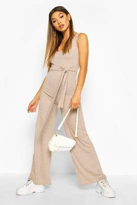 boohoo Ribbed Tie Waist Belted Wide Leg Jumpsuit