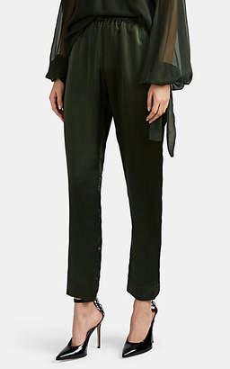 Juan Carlos Obando Women's Silk Satin Track Pants - Olive