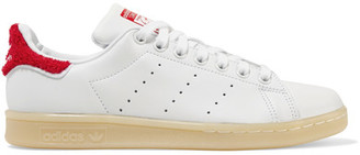 Adidas Originals - Stan Smith Winter Terry-trimmed Leather Sneakers - White $85 thestylecure.com
