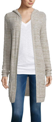 ARIZONA Arizona Long-Sleeve Hooded Marl Cardigan  - Juniors $40 thestylecure.com