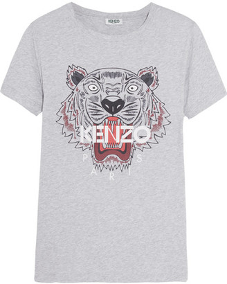 KENZO - Printed Cotton-jersey T-shirt - Gray $120 thestylecure.com