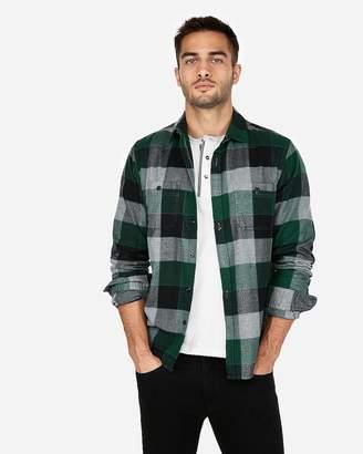 Express Plaid Print Flannel Shirt