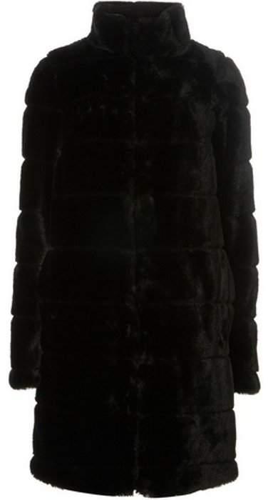 Womens **Tall Black Lined Faux Fur Coat
