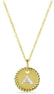 David Yurman Initial Pendant with Diamonds in Gold on Chain $695 thestylecure.com