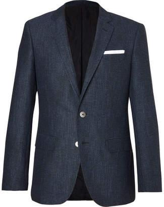 Hugo Boss Blue Hutsons Slim-Fit Woven Blazer $645 thestylecure.com
