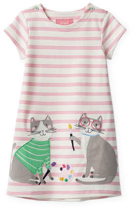 Joules Kaye Multi-Striped Painting Cats Applique Dress, Size 2-6