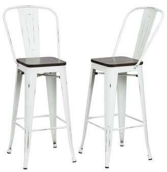 "Carolina Chair & Table Set of 2 Reed 30"" Wood Seat Bar Stool"