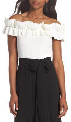 Eliza J Off the Shoulder Ruffle Knit Top