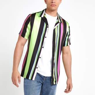 River Island Mens Black neon stripe short sleeve shirt