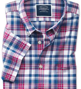 Charles Tyrwhitt Classic fit poplin short sleeve pink and navy shirt