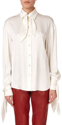 Magda Butrym Queens Tie-Neck Button-Front Blouse
