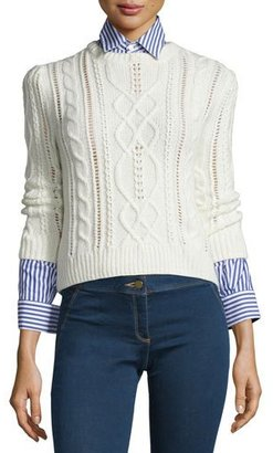 Veronica Beard Surrey Cable-Knit Pullover Sweater, Cream $450 thestylecure.com