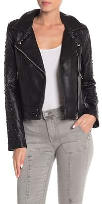 Blank NYC BLANKNYC Denim Studded Faux Leather Jacket