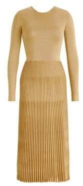 Ralph Lauren Women's Metallic Pleated Skirt Midi Dress - Gold - Size Large