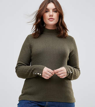 Brave Soul Plus Grace Rib Turtleneck Sweater With Button Cuffs
