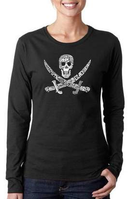 Los Angeles Pop Art Women's PIRATE CAPTAINS, SHIPS AND IMAGERY Long Sleeve T-Shirt