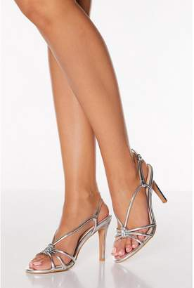 Quiz Silver Knot Detail Strappy Heeled Sandals