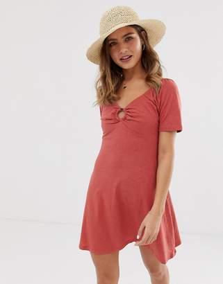 Asos Design DESIGN slubby mini swing dress with faux tortoiseshell ring detail