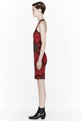 McQ Red Tartan shift Dress