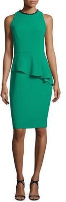Carmen Marc Valvo Sleeveless Asymmetric Peplum Sheath Dress, Emerald $595 thestylecure.com