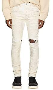 Purple Men's Distressed Metallic Skinny Jeans - White