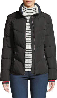 T.H. Designs Stand-Collar Knit-Trim Puffer Jacket