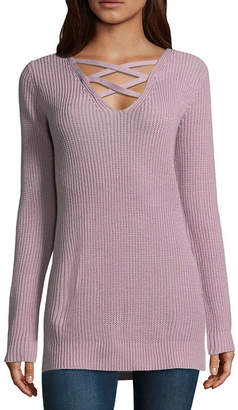 Arizona Long Sleeve V Neck Pullover Sweater-Juniors