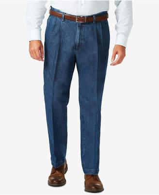 Haggar Men Big & Tall Stretch Denim Classic-Fit Pleated Pants
