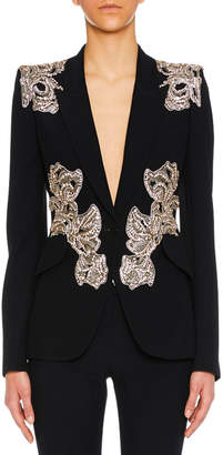 Alexander McQueen Orchid-Embellished One-Button Crepe Blazer